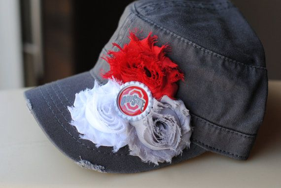 Ohio State Distressed Military Cadet flower hat. Shabby Chic Buckeye Bling Womens Hat on Etsy, $29.00