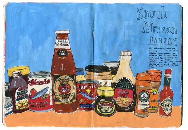 South African pantry - Mieke van der Merwe (good idea for an art project)