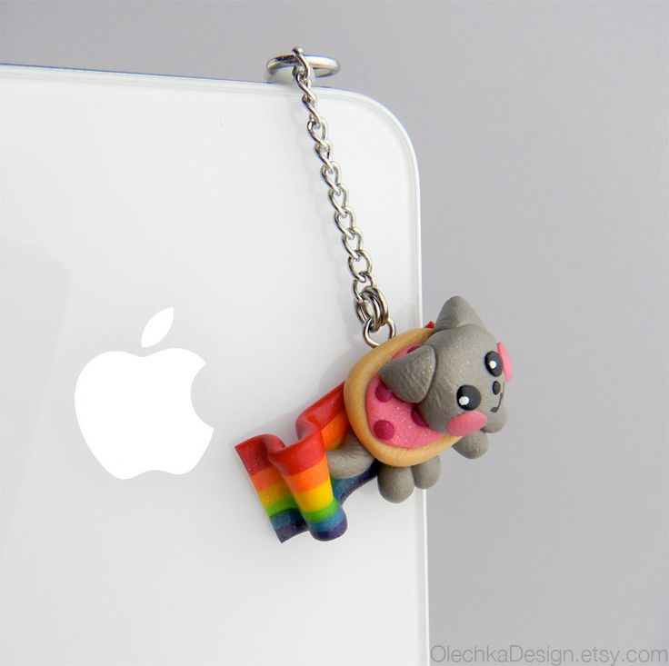 Nyan Cat Geek iPhone Earphone Plug, Dust Plug, Pluggy, Cellphone Accessories, 3.5mm, Meme, available with Charm Strap. $11.00, via Etsy.