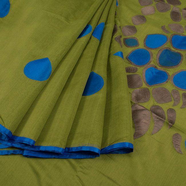 Buy online Hand Crafted Green Maheshwari Silk Cotton Saree With Silk Applique Work 10014679