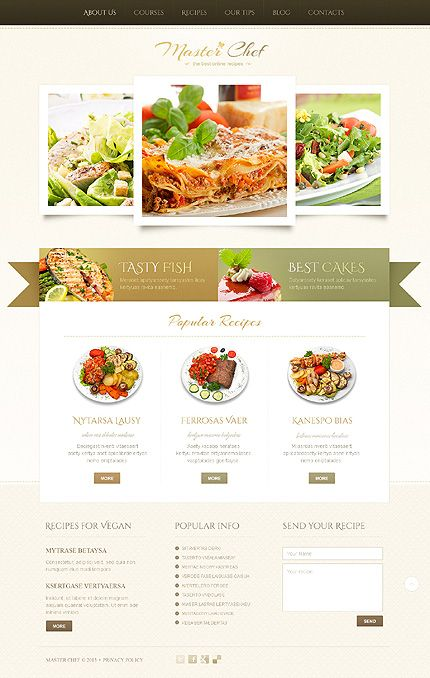 Beige cooking wordpress theme the ribbon design and