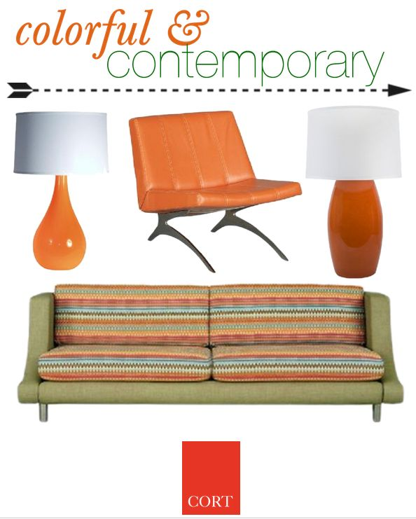 With bright colors come happy feelings! Liven up your living room deco with splashes of color and funky furniture. | Angelina Sofa (go.cort.com/2gj) + Ara Chair (go.cort.com/2gi) + Autumn Rust Table Lamp (go.cort.com/2qu) + Aubrie Table Lamp (go.cort.com/2qv) | cort.com: Living Room, Splash Of Colors, Bright Colors
