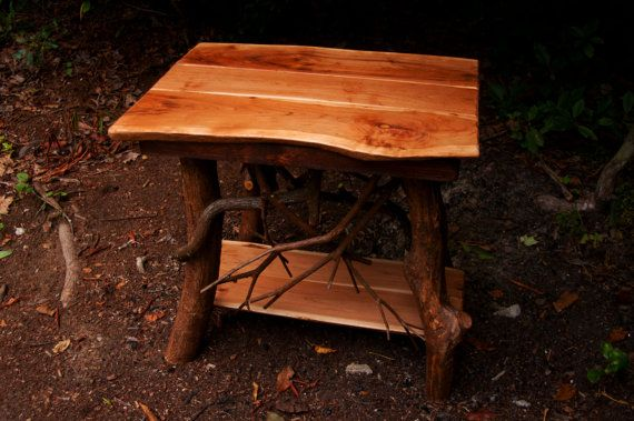 Rustic Handmade End Table Log Cabin Adirondack by BlueRidgeRustics