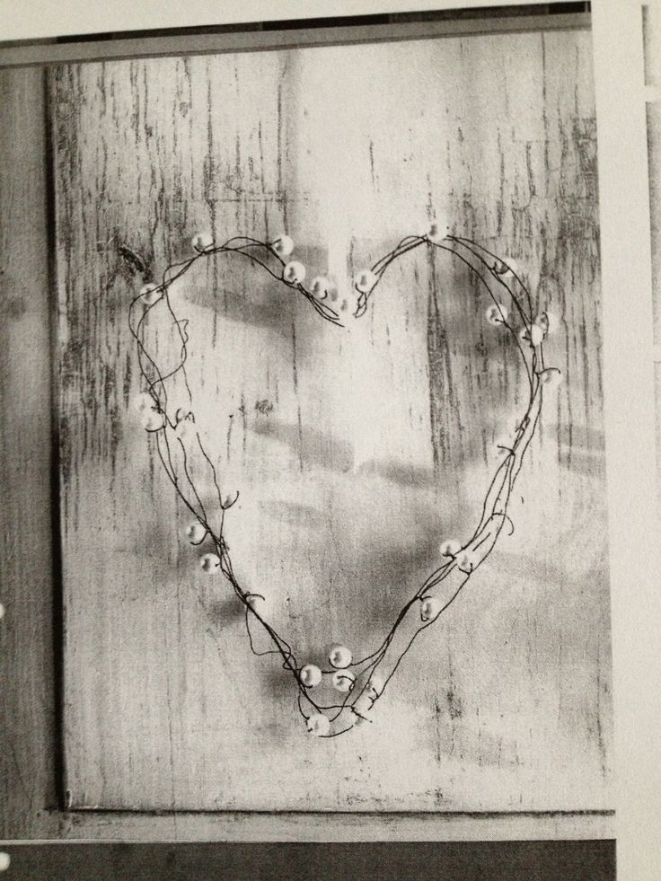Heart of steel wire and beads