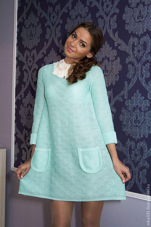 Купить Платье в стиле 60-х - бирюзовый, однотонный, платье вязаное, платье, платье летнее