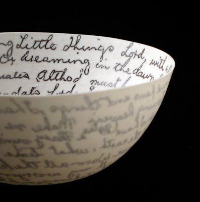 Delicate and eloquent, love the idea of this bowl!: Gorgeous Ceramics, Mel Robson, Porcelain Bowls, Ceramics Idea, Transluc Porcelain, Poetry Quotes, Design Sponge, Ceramics Bowls, Bible Ver