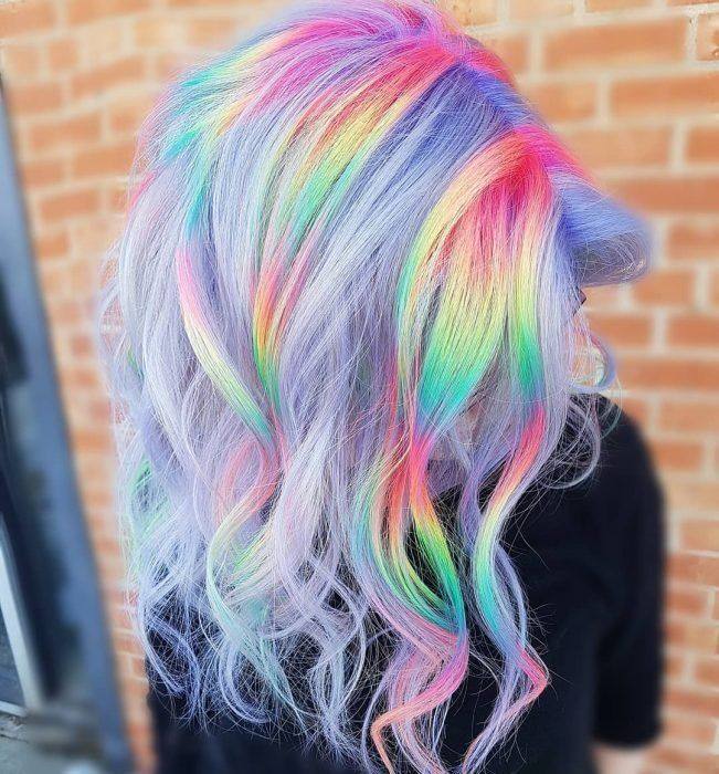 In the late and early bright neon hair hues were the most popular non-traditional hair colors. Pastel purple hair is the top favorite of all the pastels. Underdye Hair, Dye My Hair, Hair Dye Colors, Ombre Hair Color, Pastel Purple Hair, Pastel Rainbow Hair, Rainbow Hair Colors, Short Rainbow Hair, Pulp Riot Hair Color