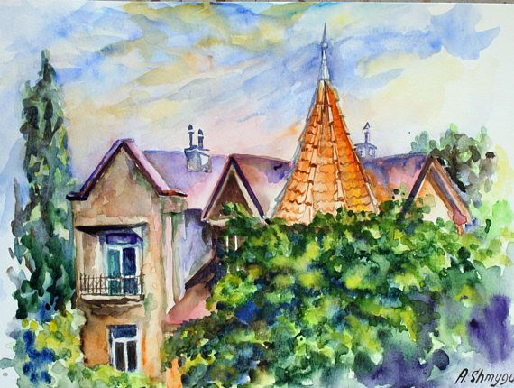 Original watercolor painting cityscape Old house with red