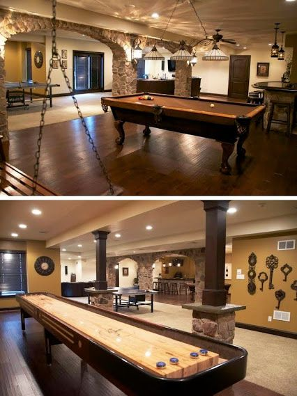 Cool Pool Tables >> This stunning basement is equipped with hardwood floors ...