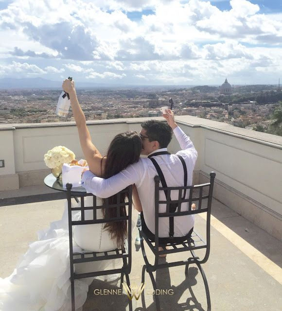 Cheers -we're married! The day after the weddingday <3 #moetice #bride #wedding #groom #rome #glennewedding