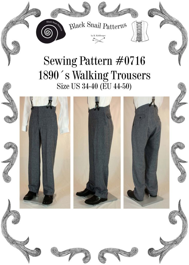 Victorian / Edwardian Mens Walking Trousers from 1870 to 1910 Sewing Pattern #0716 Size US 34-48 (EU 44-58) PDF Download by BlackSnailPatterns on Etsy https://www.etsy.com/listing/479800913/victorian-edwardian-mens-walking