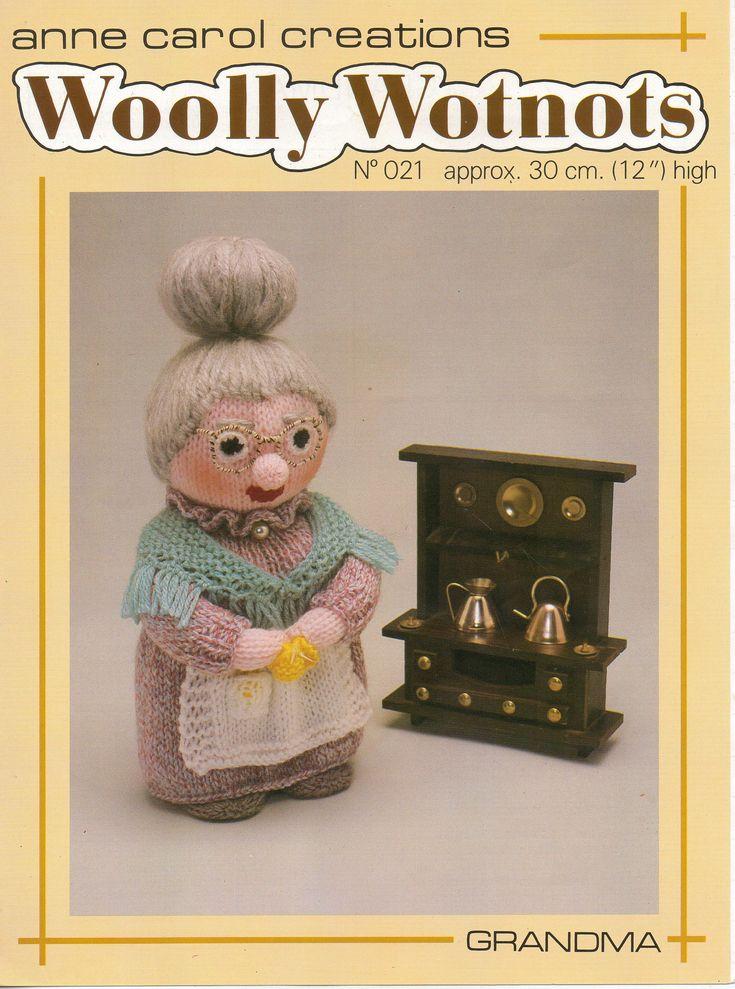 "PDF Woolly Wotnots Knitting Pattern - Grandma by Anne Carol Creations. No. 021 (12"" high figure) by DorothyLauderArt on Etsy"