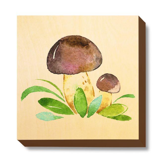 CHI 055 Children's Art - Watercolour Brown Mushrooms
