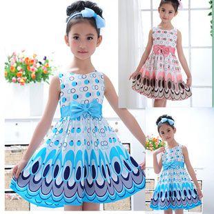 2013 Kids Girls Dress cute peacock color sleeveless princess dress circle Korean Fashion Blue children's clothing New Alince US $6.00