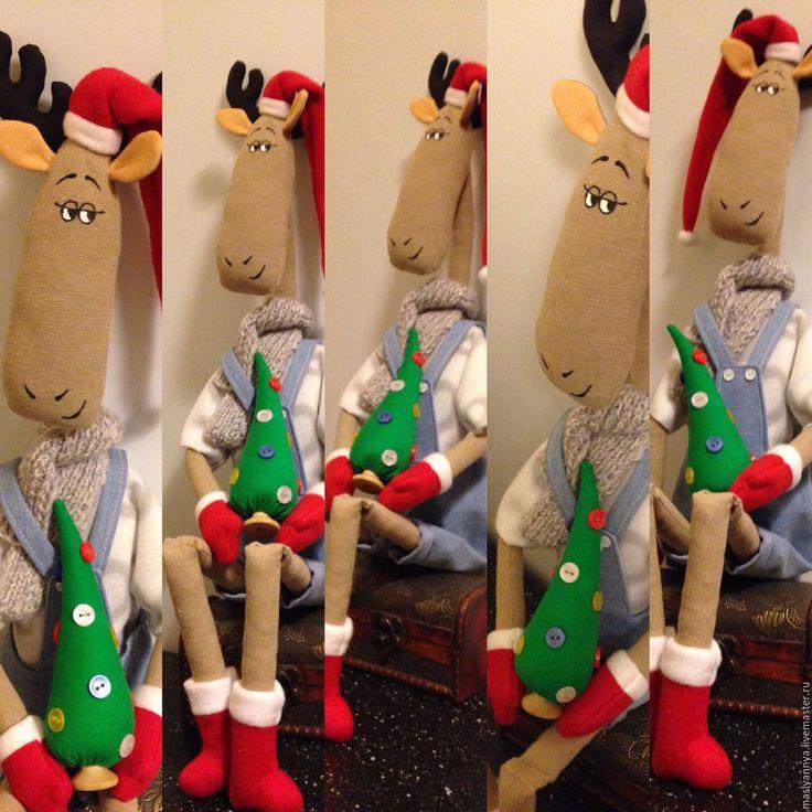 Купить Рождественский лось Тильда - тильда, интерьерная кукла, подарок девушке, подарок подруге
