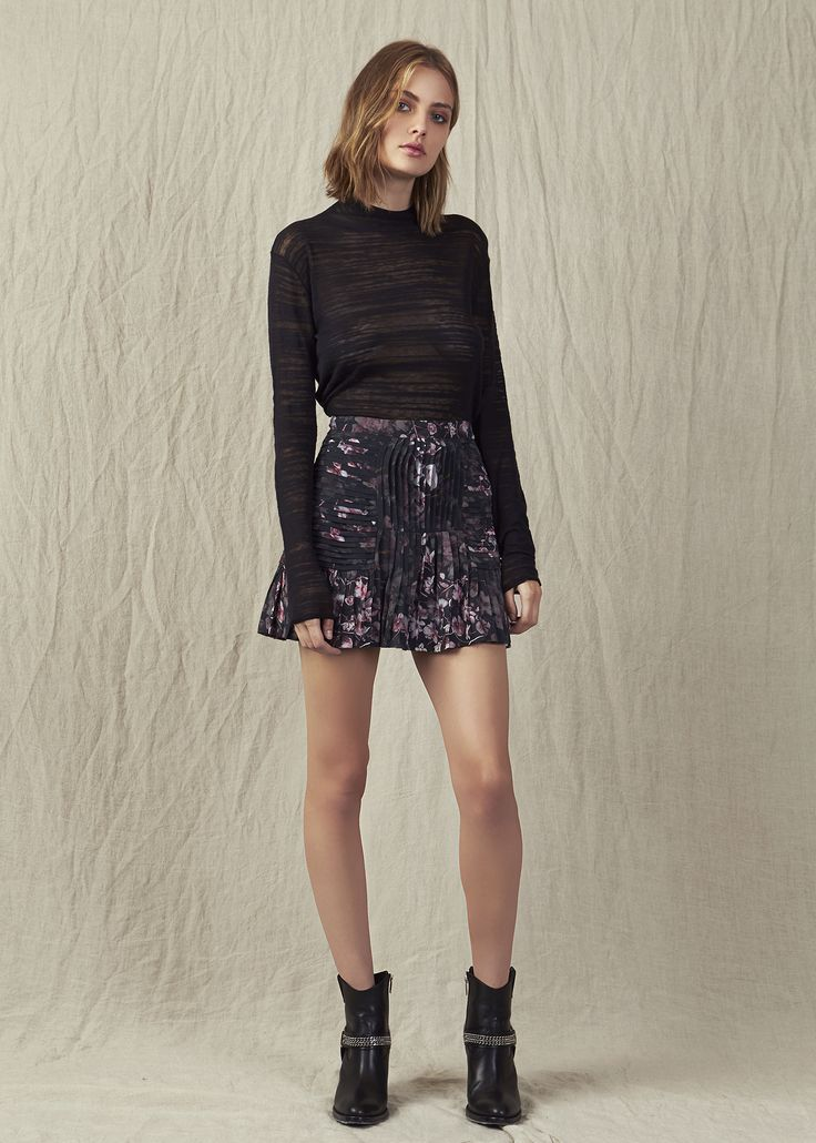 Black skivvie high waisted floral silk skirt mini ankle boots IMG Model. #AjeTheLabel #Aje #Fashion #Style #LookBook #AW17 #Autumn #Winter #2017 #AustralianFashion #Designer