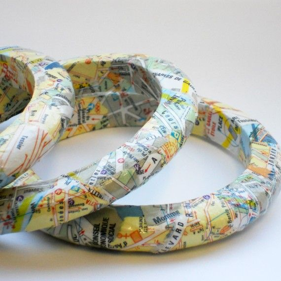 Bangles made from upcycled maps.