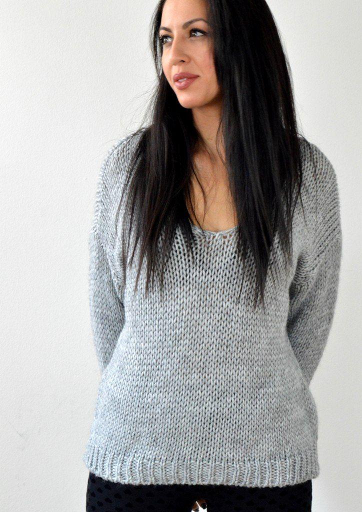 Μπλούζα Πλεκτή με V - ΓΚΡΙ | shop online: www.musitsa.com