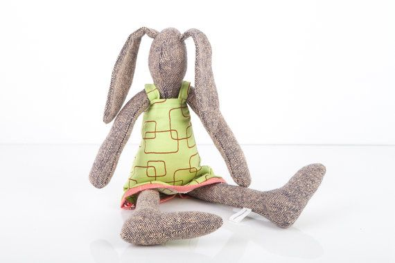 Modern stuffed bunny toy hare rabbit softie fabric by TIMOHANDMADE, $45.00