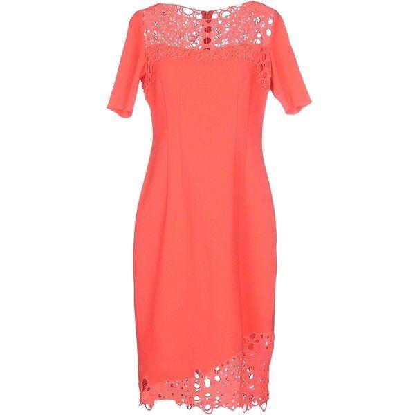 Elie Tahari Knee-length Dress ($335) ❤ liked on Polyvore featuring dresses, coral, red knee length dress, knee high dresses, red dress, red short sleeve dress and elie tahari dresses