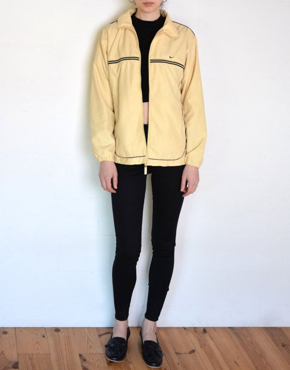 90's silky Nike jacket pale yellow and black by WoodhouseStudios