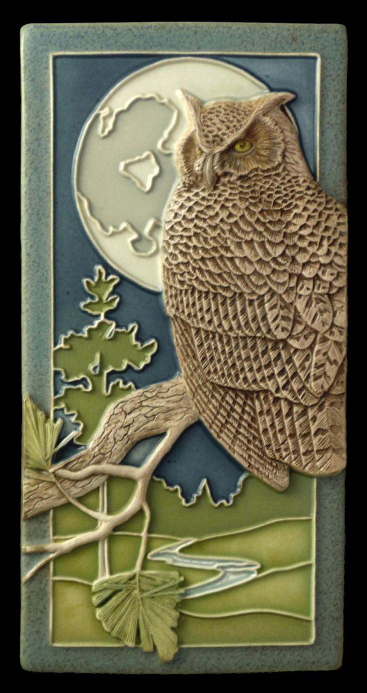 Ceramic tile Night Owl art tile wall decor by MedicineBluffStudio