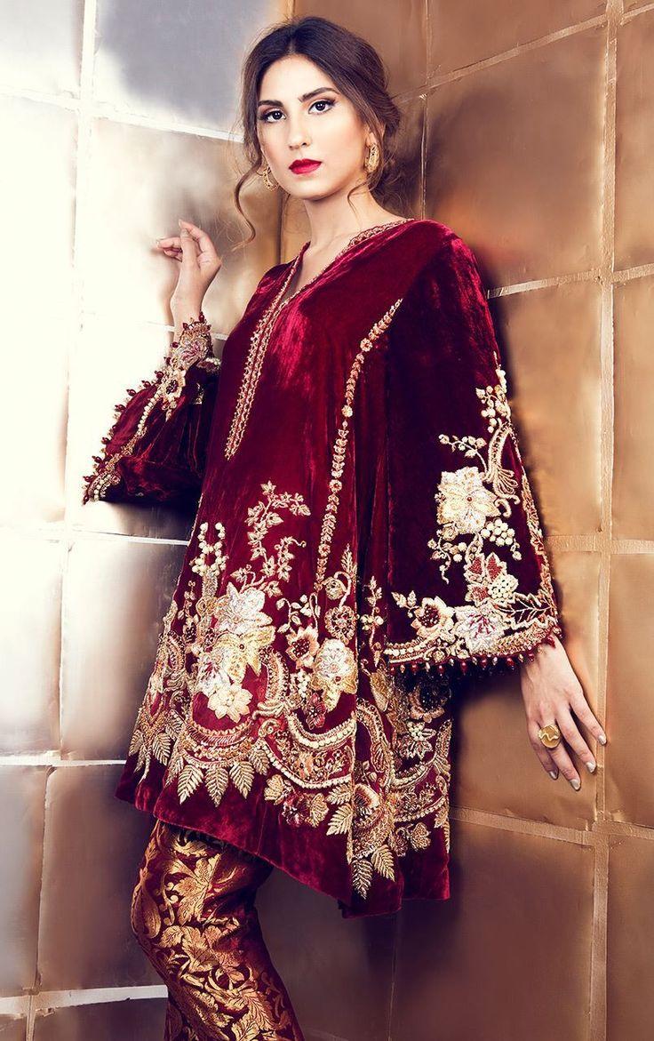 Maroon Velvet Suit with Pakistani Pant paki dresses