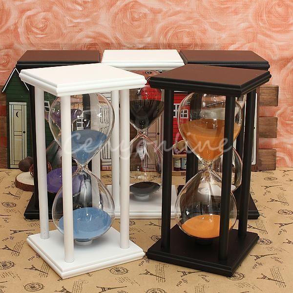 Wooden 60Min Sand Frame Sandglass Hourglass Timer Clock Decor Xmas Home Gift