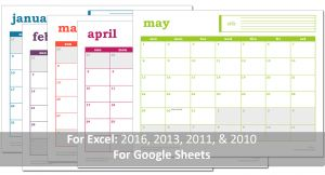 Easy Event Calendar 2016 Excel Template - Prints with Banner