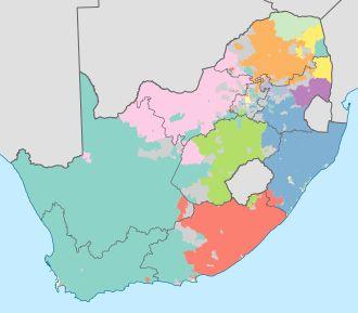 Map showing South African languages   Afrikaans   English   Ndebele   Xhosa   Zulu   Northern Sotho   Sotho   Tswana   Swazi   Venda   Tsonga