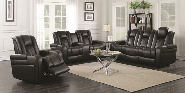 """2 pc Delangelo collection transitional style black breathable leatherette upholstered power motion sofa and love seat with recliner ends.  This set includes the Sofa and love seat power motion recliner ends, with lighted cup holders and a flip up reading light on the center console of the sofa.  Sofa measures 85"""" x 41"""" x 41"""" H. Love seat measures 74"""" x 41"""" x 41"""" H. Optional single recliner available at additional cost and measures 39"""" x 41"""" x 41"""" H..."""