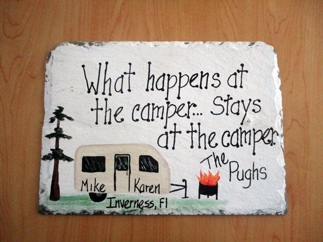 Camping Camper Slate Sign hand painted custom by kpdreams on Etsy, $20.00