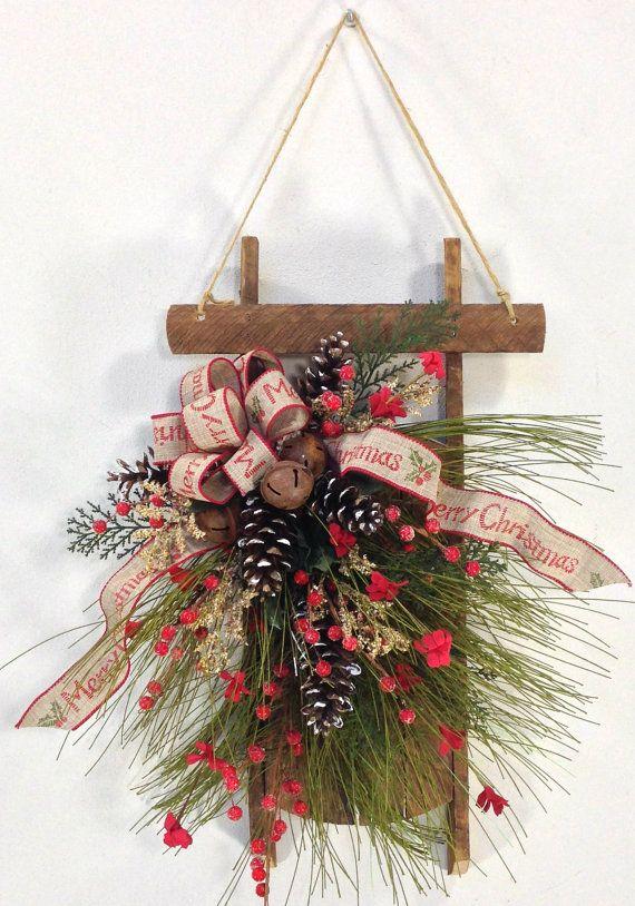 Christmas Wreath Sled Wreath Holiday Wreath by CrookedTreeCreation
