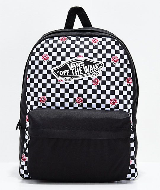 Vans Realm Rose Checkerboard Backpack in 2019 | School Dayz 2018 ...