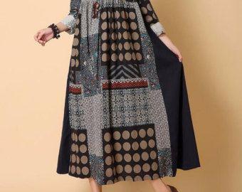 Primavera cotone e lino Big lungo abito altalena di MaLieb su Etsy