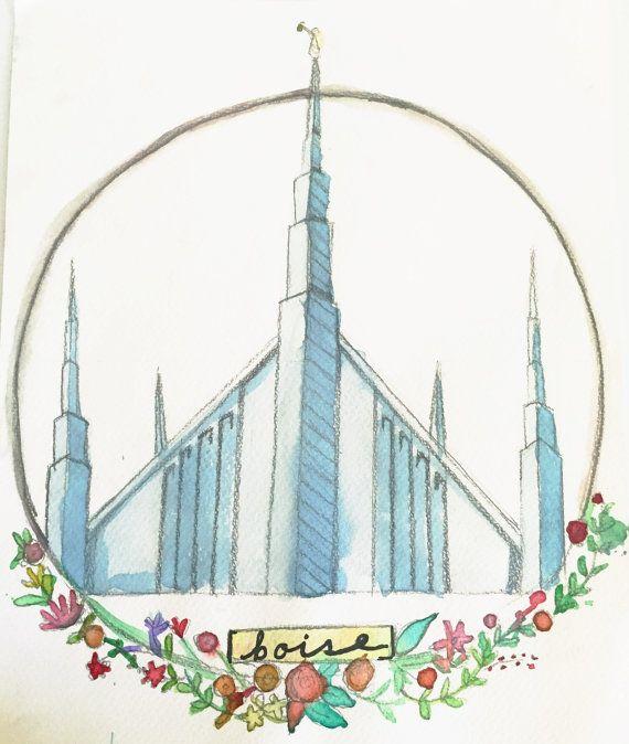 Boise temple watercolor print by truleyme on Etsy