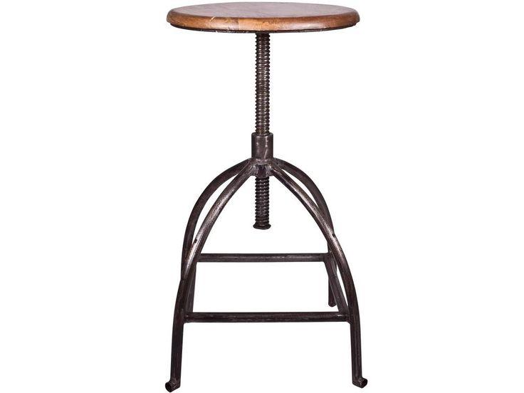 Deze metalen kruk 'Sire' van Broste Copenhagen is in hoogte verstelbaar en heeft door het gebruikte hout van de zitting een stoere vintage look.