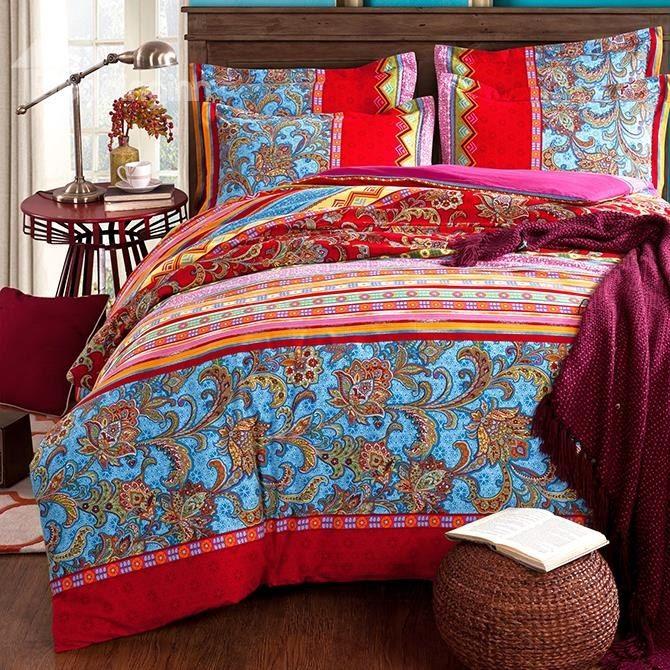 colorful stripes and jacobean print boho style cotton 4piece bedding sets