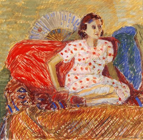 Piotr Potworowski, Woman on Red Couch on ArtStack #piotr-potworowski #art