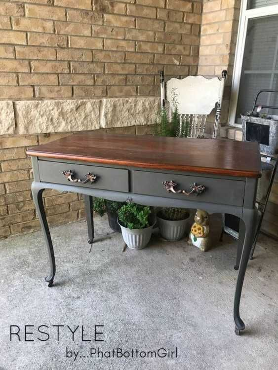desk 2fvanity 2fentry table painted in dark grey with stain top rh pinterest com