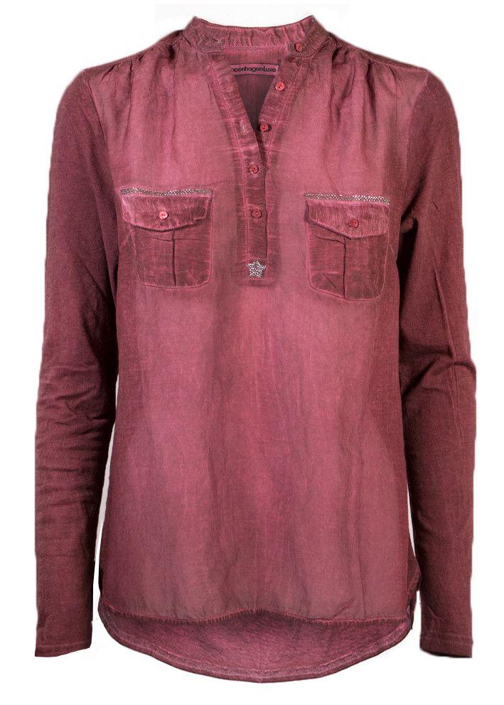 Copenhagen Luxe Skjorte bordeaux 7344 Silk-Modal Shirt - burgundy – Acorns