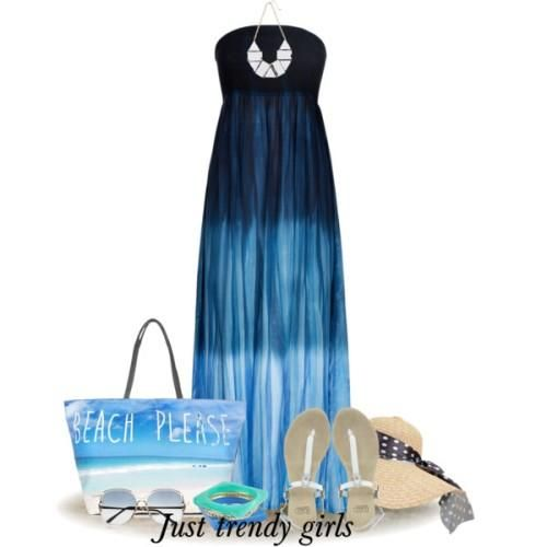 blue  strapless maxi dress, Fashion beach dresses and accessories http://www.justtrendygirls.com/fashion-beach-dresses-and-accessories/