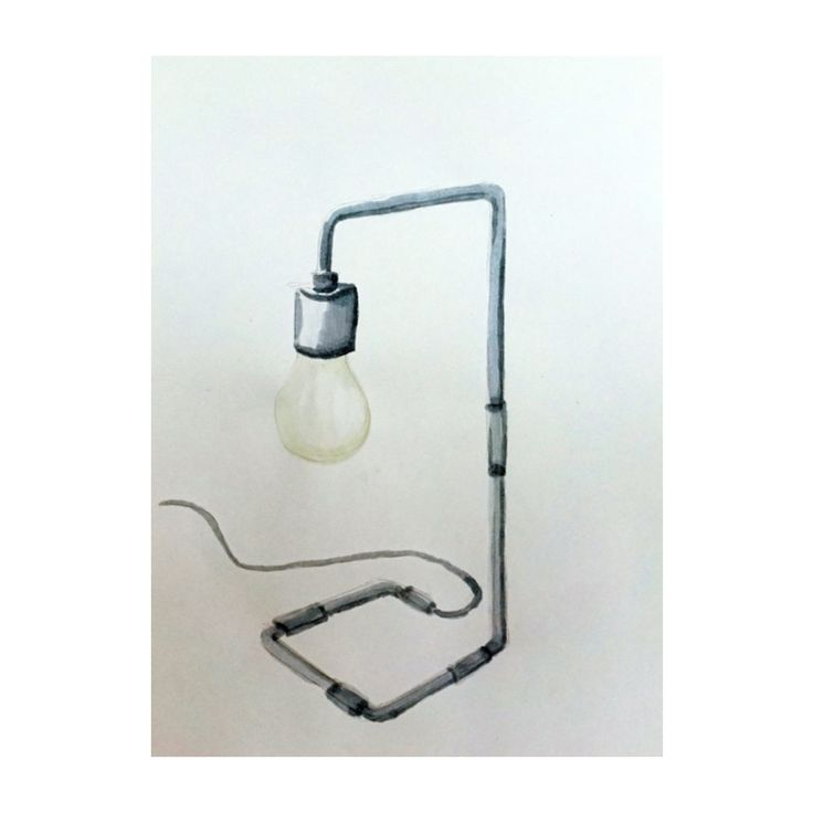 Watercolor drawing of our Reade table lamp.
