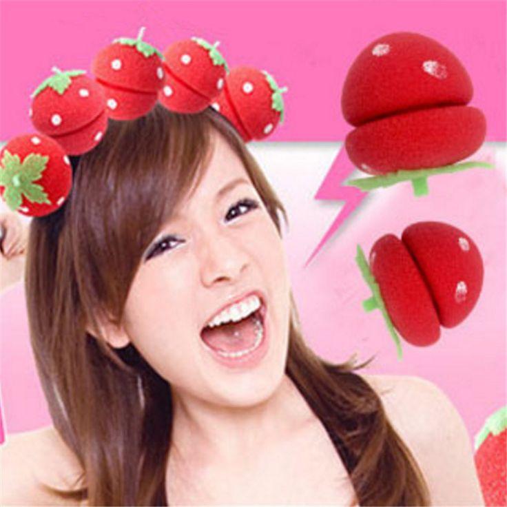 Strawberry Sponge Ball Fashion Women Professional Twist Styling Hair Curler Lovely DIY Tools