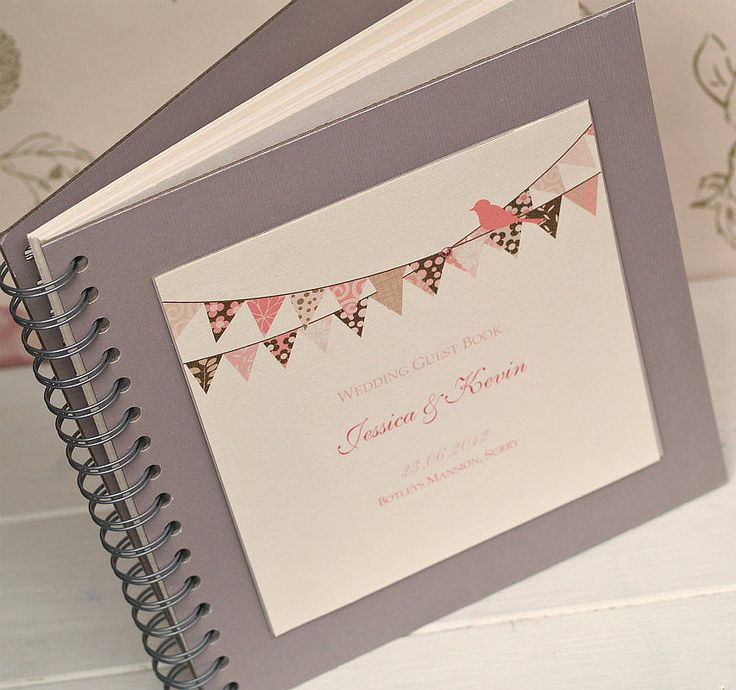 'bunting' personalised wedding guest book by beautiful day | notonthehighstreet.com