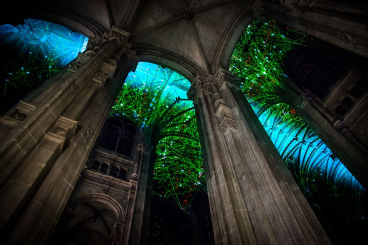 Projected onto the ceiling of Saint-Eustache Church in Paris, Voûtes Célestes is a work by Miguel Chevalier that turned the ancient chapel into the backdrop for a constantly morphing sky chart produced in real time. Cycling through 35 different colored networks, the ceiling glowed with each succ