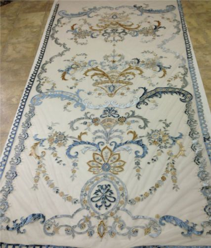 Italian-Embroidered-Ready-Made-Sheer-Neron-Blue-Lined-Curtains