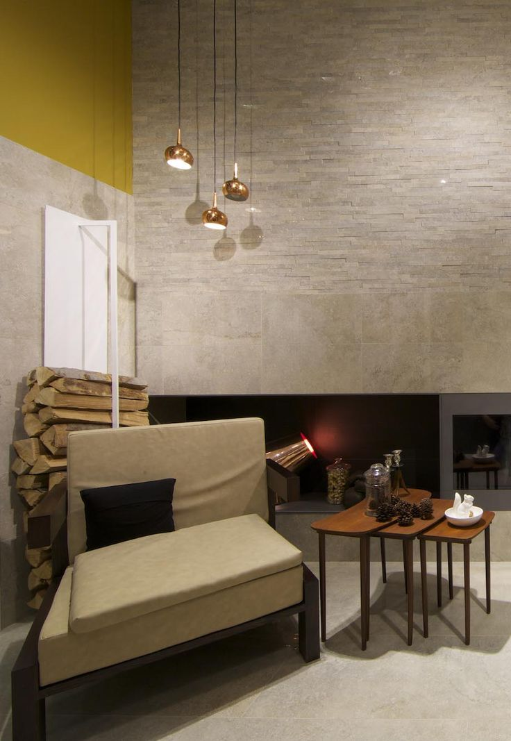 Universe collection #stone effect #tile #fireplace #winter #living #architecture #design