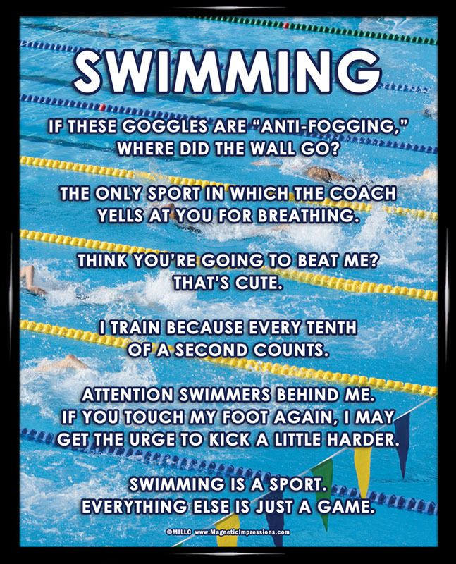 "Swimming Meet 8x10 Poster Print.  ""If these goggles are anti-fogging, where did the wall go?"" is just one of the funny and bold sayings on this swimming poster. This product is Made in the USA."