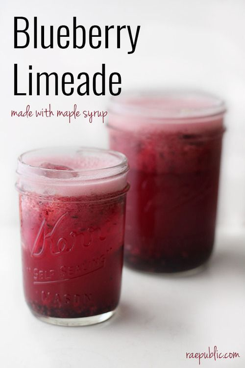 Blueberry limeade that will make your day! Seriously, it's so refreshing and irresistible that you might as well make a double batch while you're at it. This lip-puckering vegan drink is made with freshly squeezed lime-juice, blueberries and maple syrup to sweeten it up a bit. It's perfect for livening up those hot summer days.